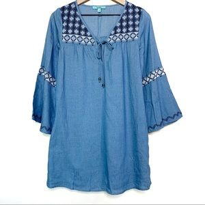Karlie Chambray Blue Bell Sleeve Dress Size Small